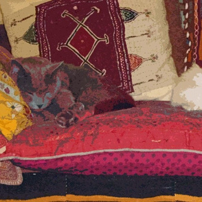 Sprocket & Louie-Louie on Gujarati Pillows