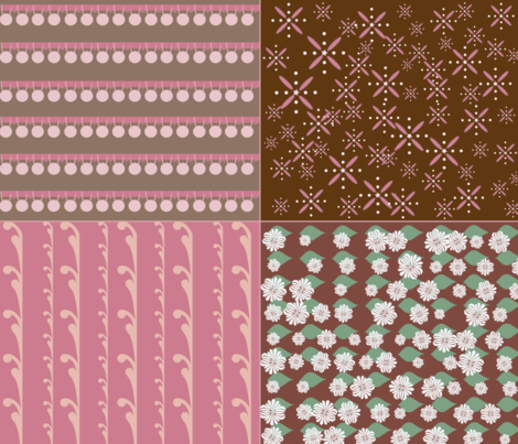Pom Pom Trim and Gardenias - Coordinates - Latte/Blush fabric by owlandchickadee on Spoonflower - custom fabric