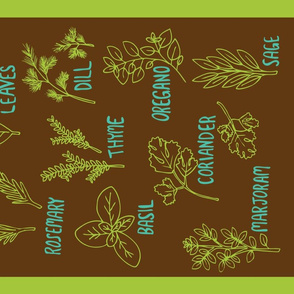 Herb Tea Towel (brown)