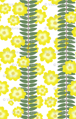 Hypericum Hidcoteleaf stripe with scattered flowers - white (Coordinate for Buttercups on a bush)