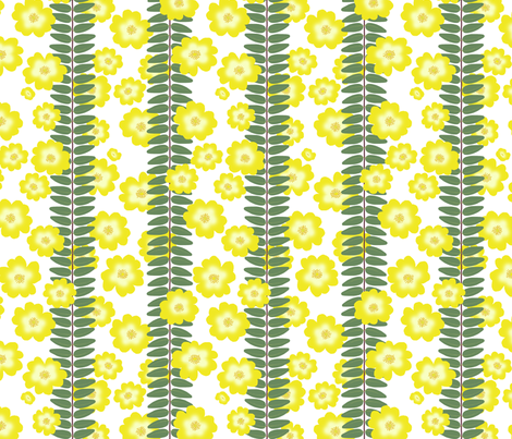 Hypericum Hidcoteleaf stripe with scattered flowers - white (Coordinate for Buttercups on a bush) fabric by victorialasher on Spoonflower - custom fabric