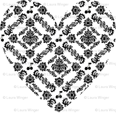 Cherry Damask Heart large