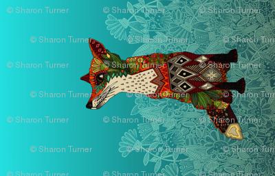 ice floral fox yard art panel