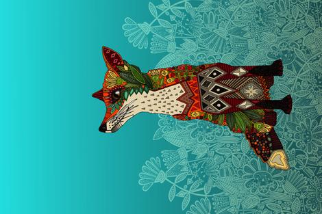 ice floral fox yard art panel fabric by scrummy on Spoonflower - custom fabric