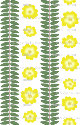 Hypericum Hidcote leaf and flower stripes - white (Coordinate for Buttercups on a bush)
