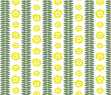 Hypericum Hidcote leaf and flower stripes - white (Coordinate for Buttercups on a bush) fabric by victorialasher on Spoonflower - custom fabric
