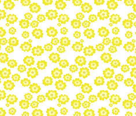 Hypericum Hidcote - just flowers - white (Coordinate for Buttercups on a bush) fabric by victorialasher on Spoonflower - custom fabric