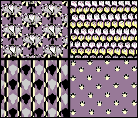 Deco a Go Go 4 in 1 - Dusty Purple, Black, Vanilla fabric by beesocks on Spoonflower - custom fabric