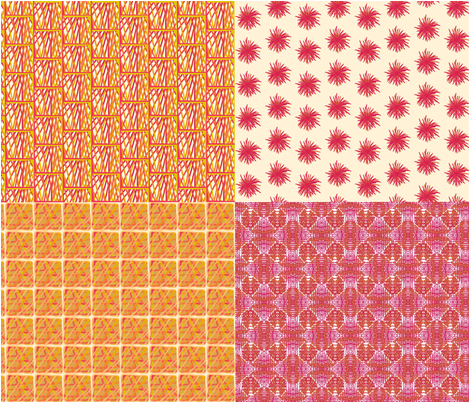 Mustard and pink coordinates fabric by su_g on Spoonflower - custom fabric