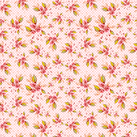Parson's Pink Roses Tossed fabric by joanmclemore on Spoonflower - custom fabric
