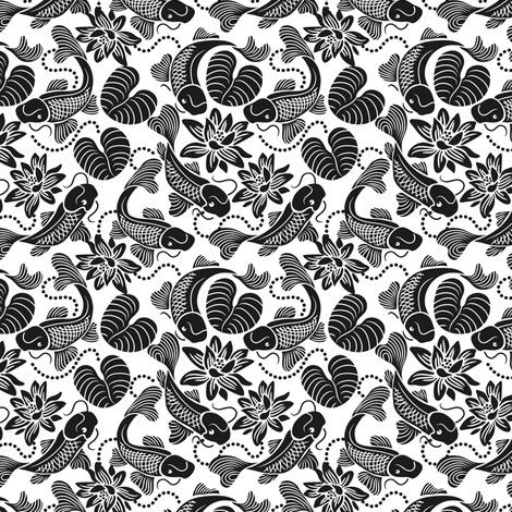 Black Koi - White Pond fabric by dianne_annelli on Spoonflower - custom fabric