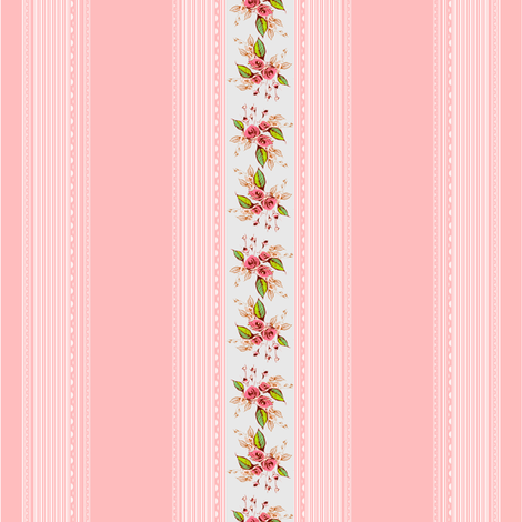 Parson's Pink Rose Delicate Stripe fabric by joanmclemore on Spoonflower - custom fabric