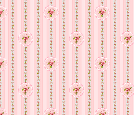 Parson's Pink Rose Medallion and Stripe fabric by joanmclemore on Spoonflower - custom fabric