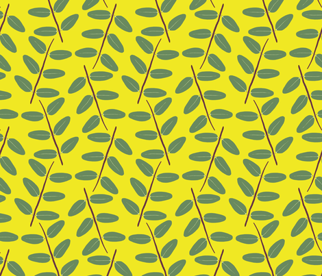Hypericum Hidcote twig zigzag - bright yellow (Coordinate for Buttercups on a bush) fabric by victorialasher on Spoonflower - custom fabric