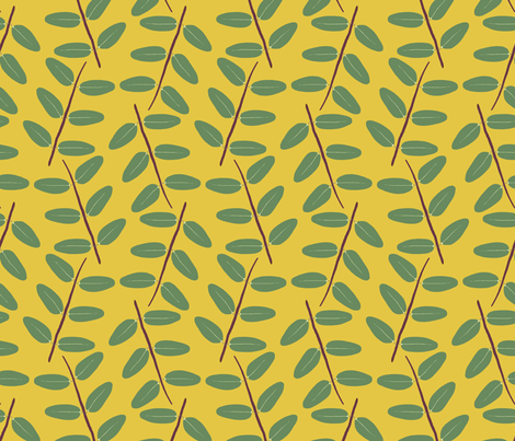 Hypericum Hidcote twig zigzag - gold (Coordinate for Buttercups on a bush) fabric by victorialasher on Spoonflower - custom fabric