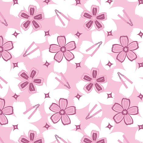 Super Pink Nunchucks! fabric by robyriker on Spoonflower - custom fabric