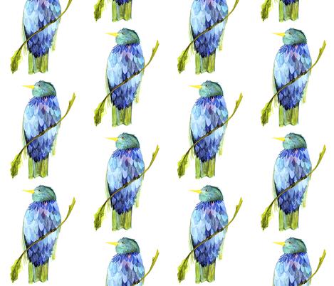 Blue Bird on Branch fabric by betweentheweeds on Spoonflower - custom fabric