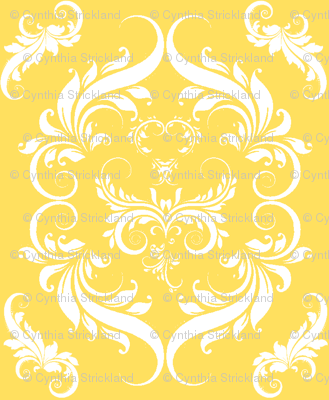 Bright Sunny Yellow Floral Damask