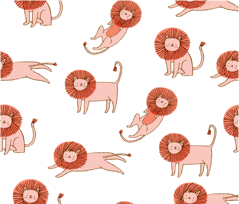 Roar! Lion Pattern fabric by niseemade on Spoonflower - custom fabric