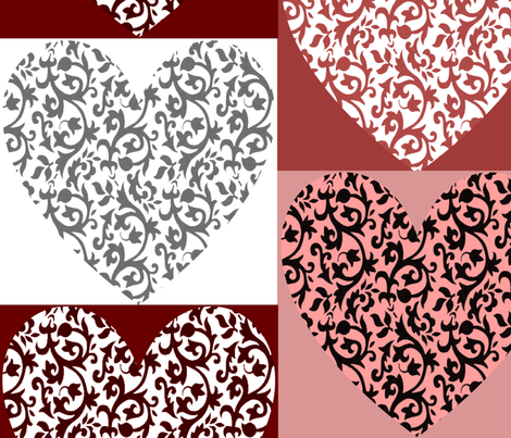 Damask Heart 005 fabric by lowa84 on Spoonflower - custom fabric