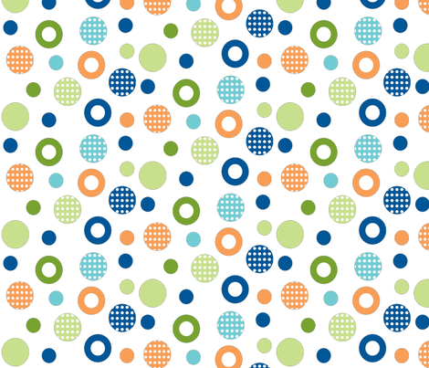 polka-dot-circles School of fish coord orange,blues-n-greens fabric by amy_frances_designs on Spoonflower - custom fabric
