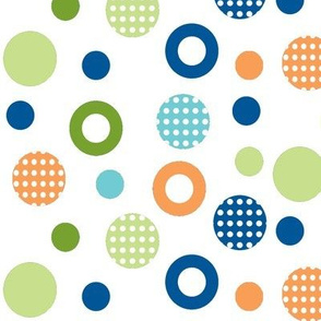 polka-dot-circles School of fish coord orange,blues-n-greens