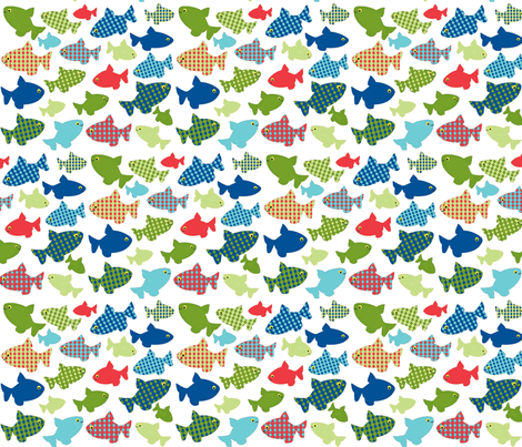 fish-n-fish RED blues-greens fabric by amy_frances_designs on Spoonflower - custom fabric