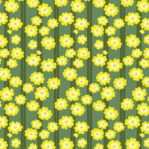 Hypericum Hidcotedouble stripe and flowers - green on green (Coordinate for Buttercups on a bush)