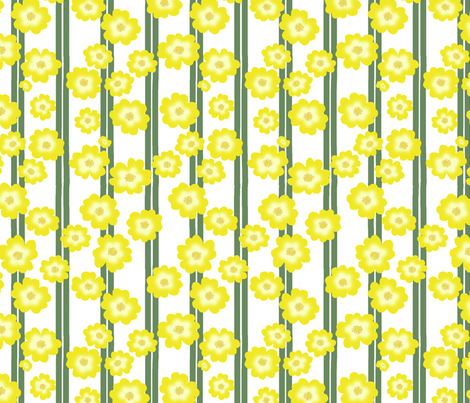 Hypericum Hidcote double stripe with flowers - white (Coordinate for Buttercups on a bush) fabric by victorialasher on Spoonflower - custom fabric