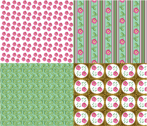 Rose_4_in_1_ fabric by khowardquilts on Spoonflower - custom fabric