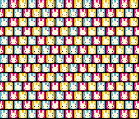 Kawaii Bunny Squares (Disco) fabric by marcelinesmith on Spoonflower - custom fabric