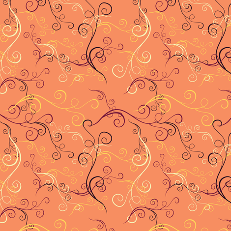Harlequin Summer Swirls - peach fabric by jubilli on Spoonflower - custom fabric