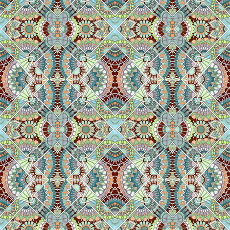 Fans of Japan (brick teal) fabric by edsel2084 on Spoonflower - custom fabric