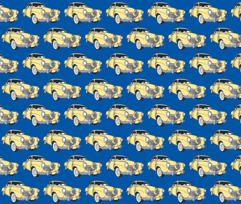 1951 bulletnose Studebaker  (cream on navy background) fabric by edsel2084 on Spoonflower - custom fabric