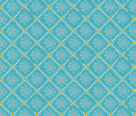 Wood Block Daisy Diamond fabric by sarah_nussbaumer on Spoonflower - custom fabric