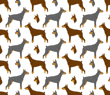 Dobermans - white fabric by rusticcorgi on Spoonflower - custom fabric