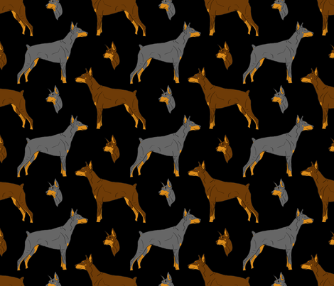 Dobermans - black fabric by rusticcorgi on Spoonflower - custom fabric