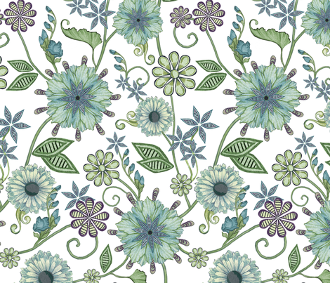 Antique Nouveau Floral fabric by nicoletamarin on Spoonflower - custom fabric