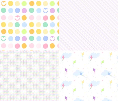 Rainbow Pastel - Coordinated Quartet!  -  © PinkSodaPop 4ComputerHeaven.com fabric by pinksodapop on Spoonflower - custom fabric
