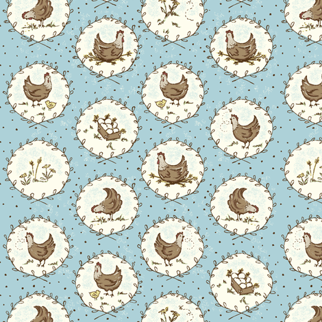 Chicken_Cameos fabric by stacyiesthsu on Spoonflower - custom fabric
