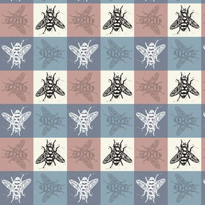Busy Bee Gingham - Rose and Delft Blue - Black Bees