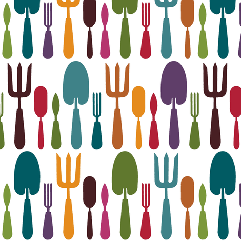 rainbow garden tools fabric by scrummy on Spoonflower - custom fabric