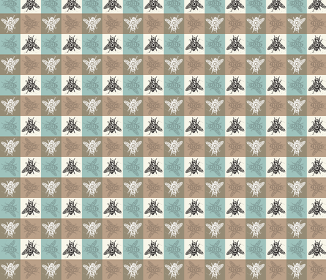 Busy Bee Gingham - Aqua and Clay - Black Bees fabric by jenithea on Spoonflower - custom fabric