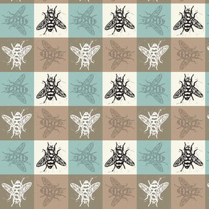 Busy Bee Gingham - Aqua and Clay - Black Bees