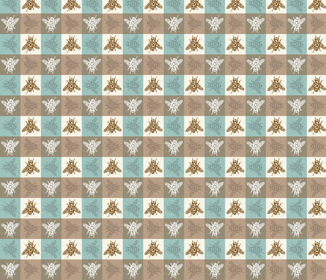 Busy Bee Gingham - Aqua and Clay - Brown Bees fabric by jenithea on Spoonflower - custom fabric