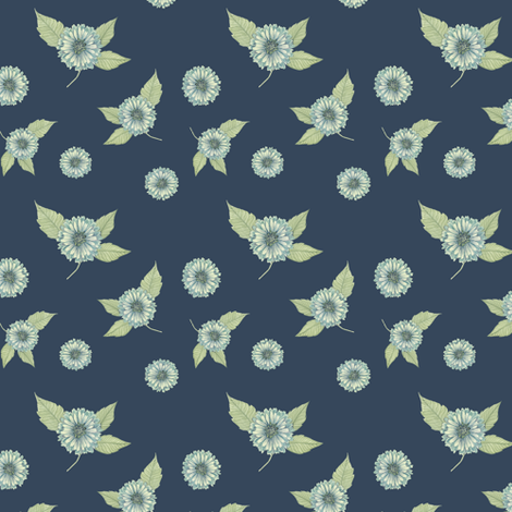 Antique Nouveau Floral - Floral Toss, Navy fabric by nicoletamarin on Spoonflower - custom fabric
