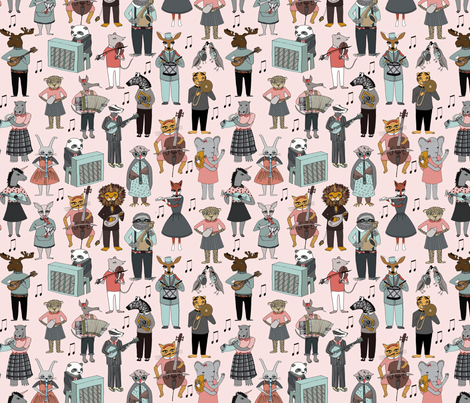 Musical Animal Alphabet - Pink fabric by andrea_lauren on Spoonflower - custom fabric