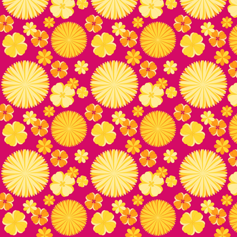 Fuchsia Floral fabric by demouse on Spoonflower - custom fabric