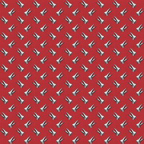 teeth on red dotted background