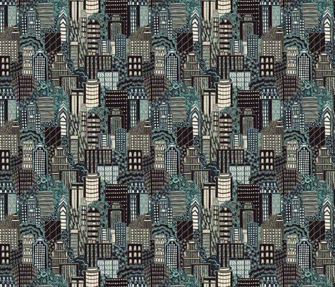 Biro City at Night fabric by teja_jamilla on Spoonflower - custom fabric